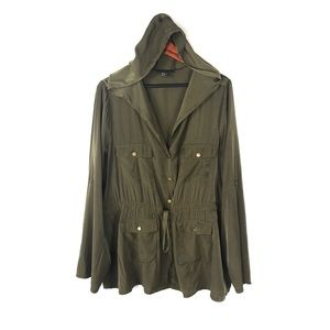 Forever 21 2x military jacket hooded army green